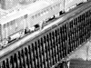 Die Brückenpisser auf der Holzbrücke